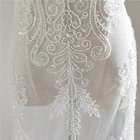 European style Beaded lace fabric Ivory 1 yard! 2019 NEW High end wedding lace bride gowns dress lace with beads sequins Rayon!