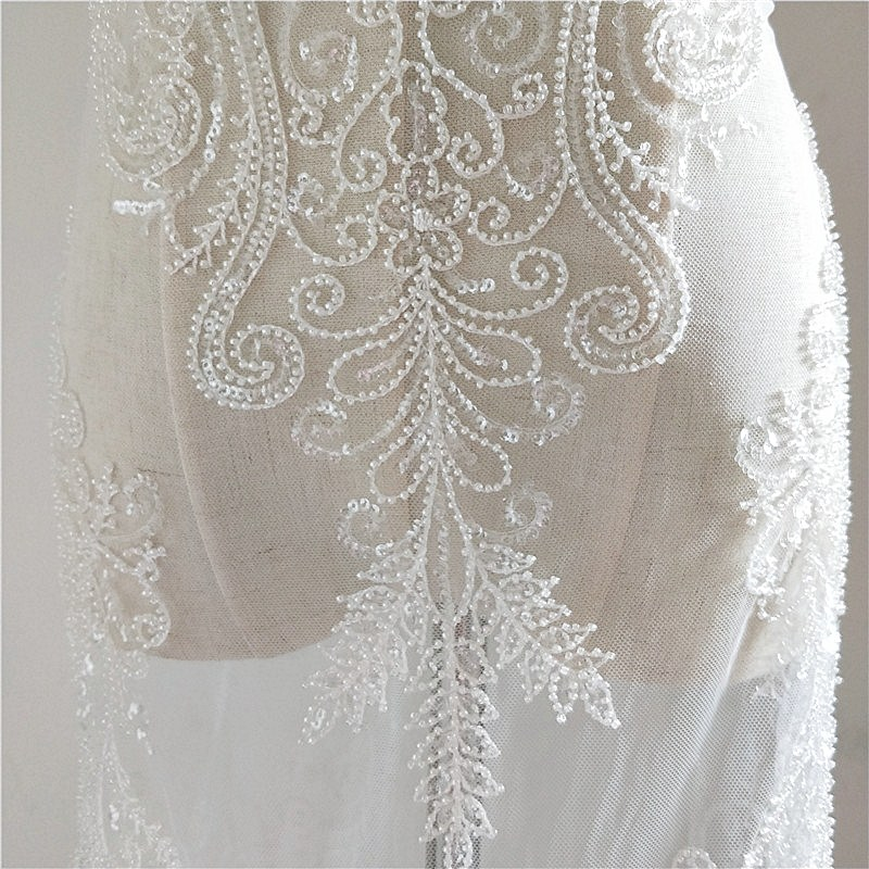 European style Beaded lace fabric Ivory 1 yard 2019 NEW High end wedding lace bride gowns dress lace with beads sequins Rayon in Lace from Home Garden