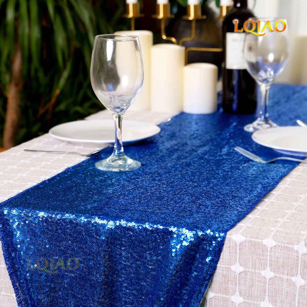 Hot Fashion Sequin Polyester Table Runner 12x72 Royal Blue Home Textile Wedding Party Christmas Table Banquet Supply Decorations