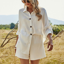 Set Outfits Linen Two-Pieces-Sets Shorts Women White Cotton Beach Shirt And Long-Sleeve