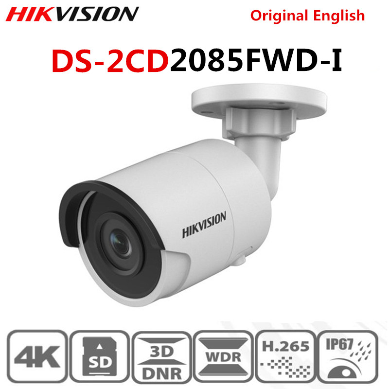 HIKvision Original English 8MP H.265 Bullet IP Camera DS-2CD2085FWD-I 3D DNR Network Security Camera With High Resolution