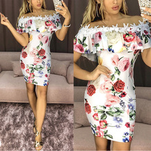 New Sexy Dress Printed Lace One Shoulder Short Sleeve Bag Hip Female Off Long Bodycon Party Dresses