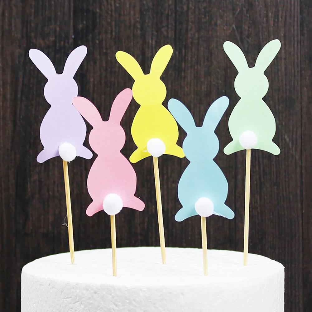 5Pcs Happy Easter Cute Rabbit Pattern Bunny Stick Ornament Holiday Festival Party Decoration for Home