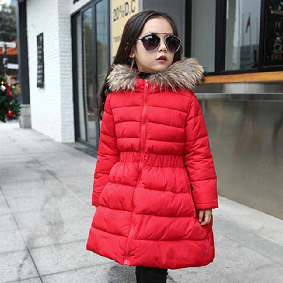 Girls Long Coat Solid Girl Coat Outerwear With Fur Hoodies Girls Jacket Winter Kids Girls Clothes 6 8 10 12 14 Years