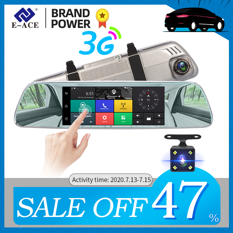 """E-ACE Car Dvrs 7""""Touch Rearview Mirror 3G Android 5.0 Cameras GPS Bluetooth Handfree WIFI FHD 1080P16G Dual Lens Video Recorder"""