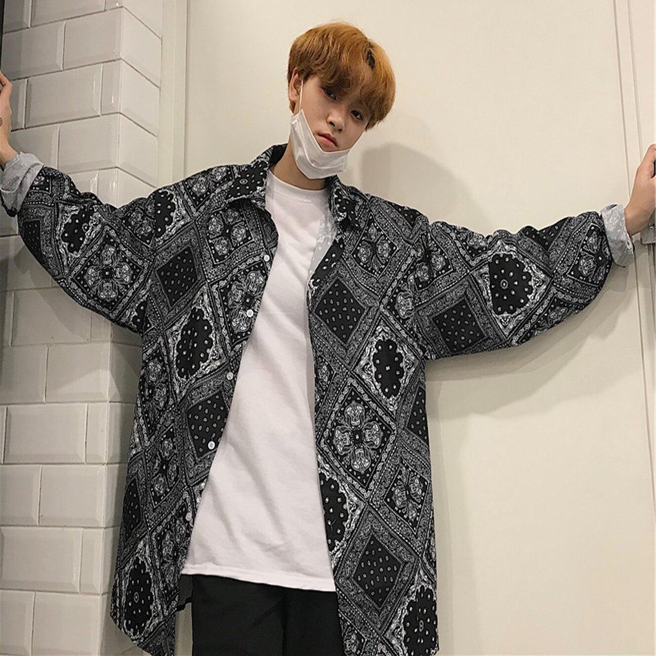 Korean Men/Women Harajuku Streetwear Hiphop Loose Oversized Bandana Paisley Print Tee Top Shirt Blouse Long Sleeve Block Plaid