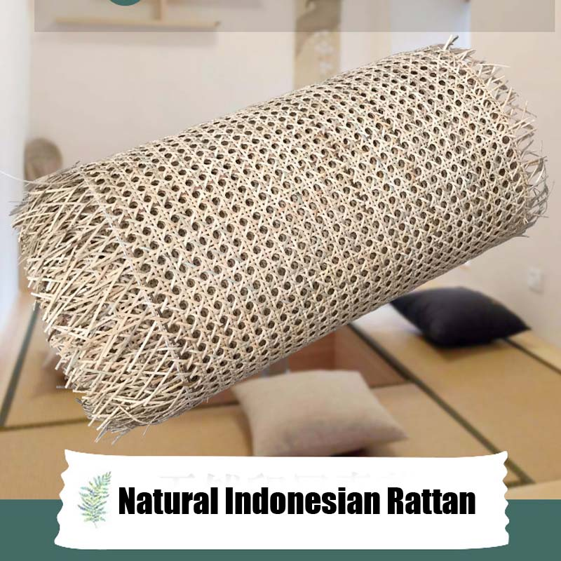 Natural Indonesian Real Rattan Material Handmade DIY Webbing Cane Roll For Decorative Furniture Chair Table Cabinet Door Ceiling