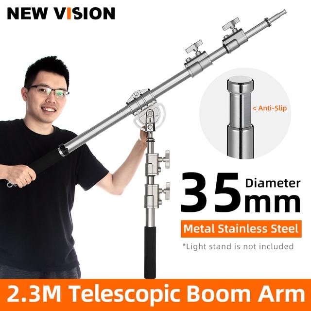 "Stainless Steel MF 01 94 232cm 37""  91"" Studio Photo Telescopic Boom Arm Top Light for Pro Studio Flash Strobe"