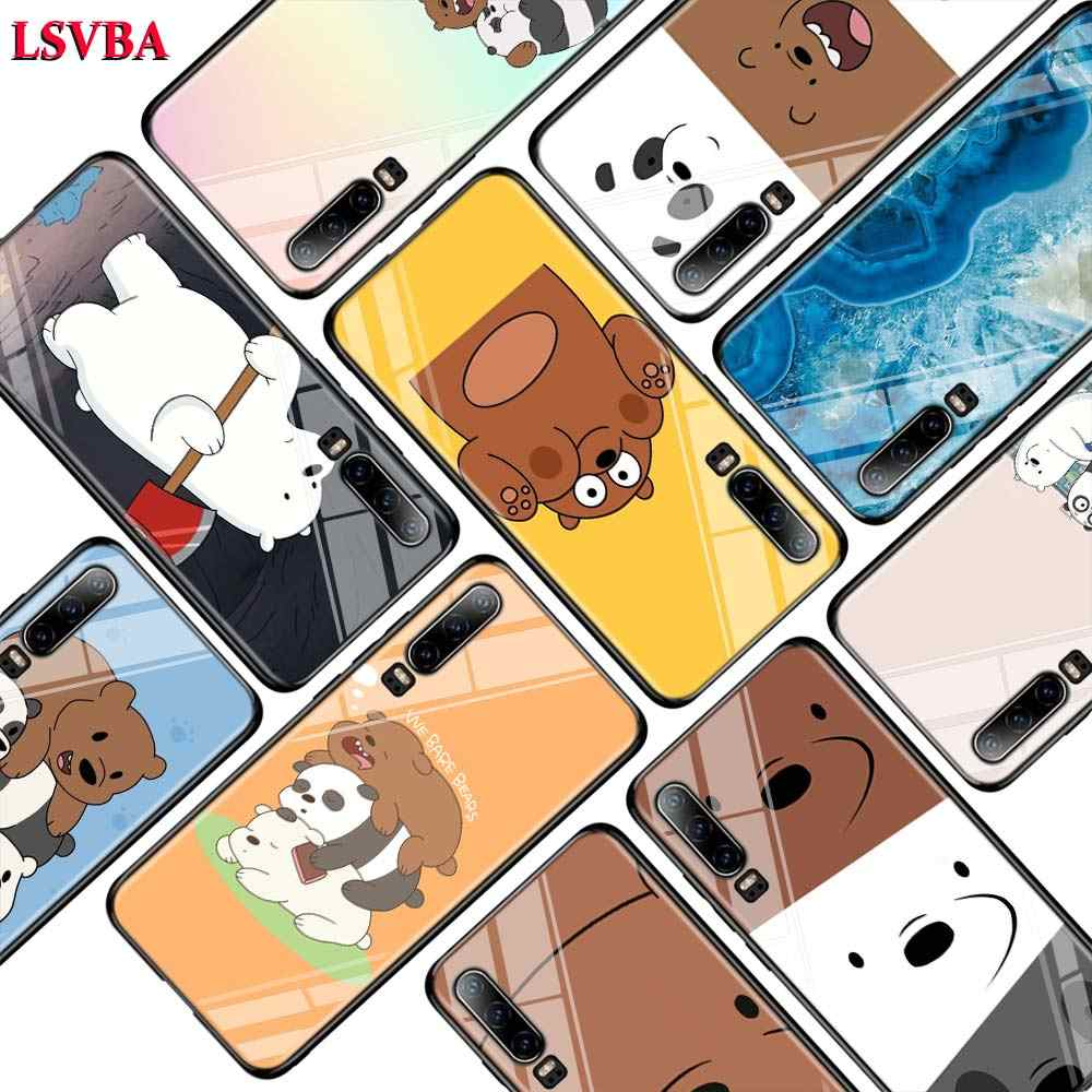 Cute Bare Bears for Huawei P Smart Z Plus 2019 P30 P20 Pro P10 P9 P8 Lite Plus Super Bright Glossy Phone Case Cover