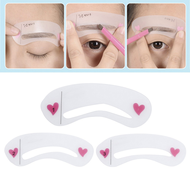 3Pcs Reusable Eyebrow Drawing Guide Card Assistant Template Brow Makeup Stencil 2