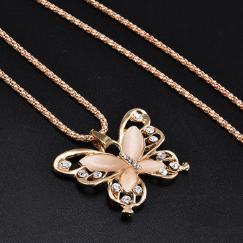 2019 New Fashion Rose Golden Butterfly Chokers Necklaces Cat Eye Stone Long Necklace Women Jewelry Wholesale 1