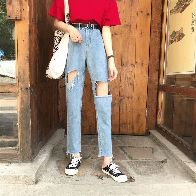 2019 Women's Destroyed Ripped Hole   Jeans   For Women Stretch Female Denim Women Straight Trousers Distressed   Jeans