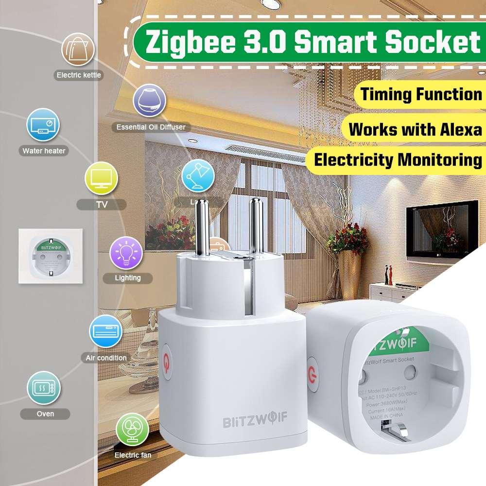 BlitzWolf BW-SHP13 3680W 16A EU Plug Zigbee 3.0 Smart WIFI Outlet Soquete APP Timer de controle remoto Smart Wifi Socket Outlet funciona com Alexa Suporte do Google Home Monitoramento de consumo de energia