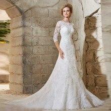 Sexy Backless A Line Long Sleeve Lace China Elegant bridal Gown Vestido De Novia robe de mariage