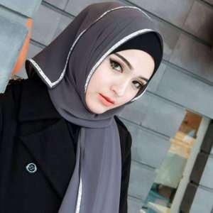 Image 4 - Bufanda de chifón para mujer, hiyab, Color liso, rosa, negro y blanco, con brillantina, con diamantes de imitación, estilo islámico musulmán, 2020
