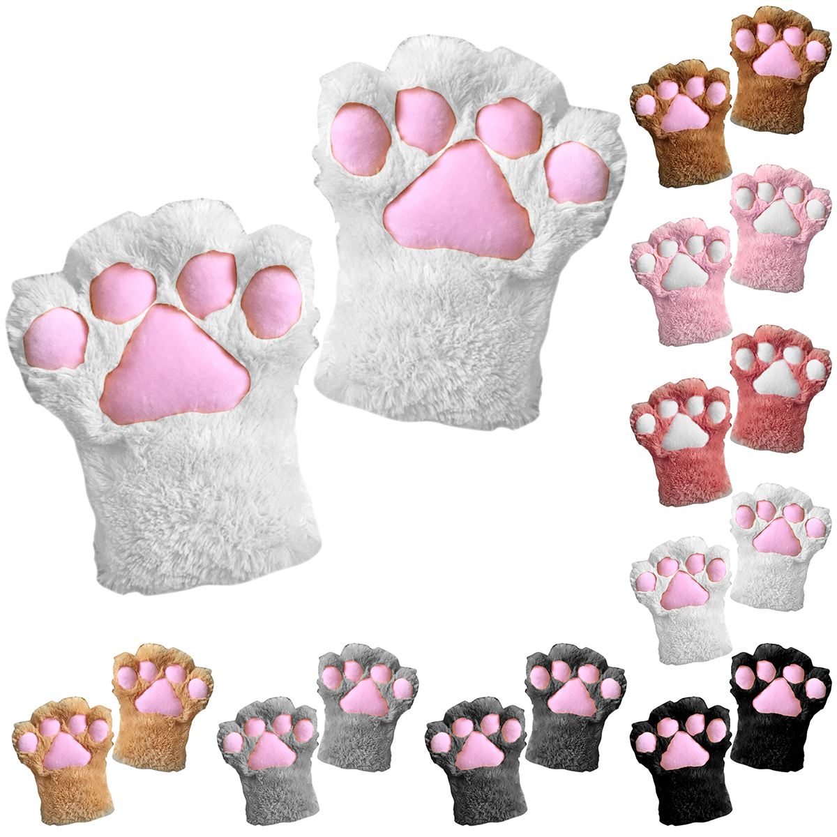 1 Pc Cute Cat Plush Paw Claw Multi-Colored Anime Costume Gloves Cosplay Party