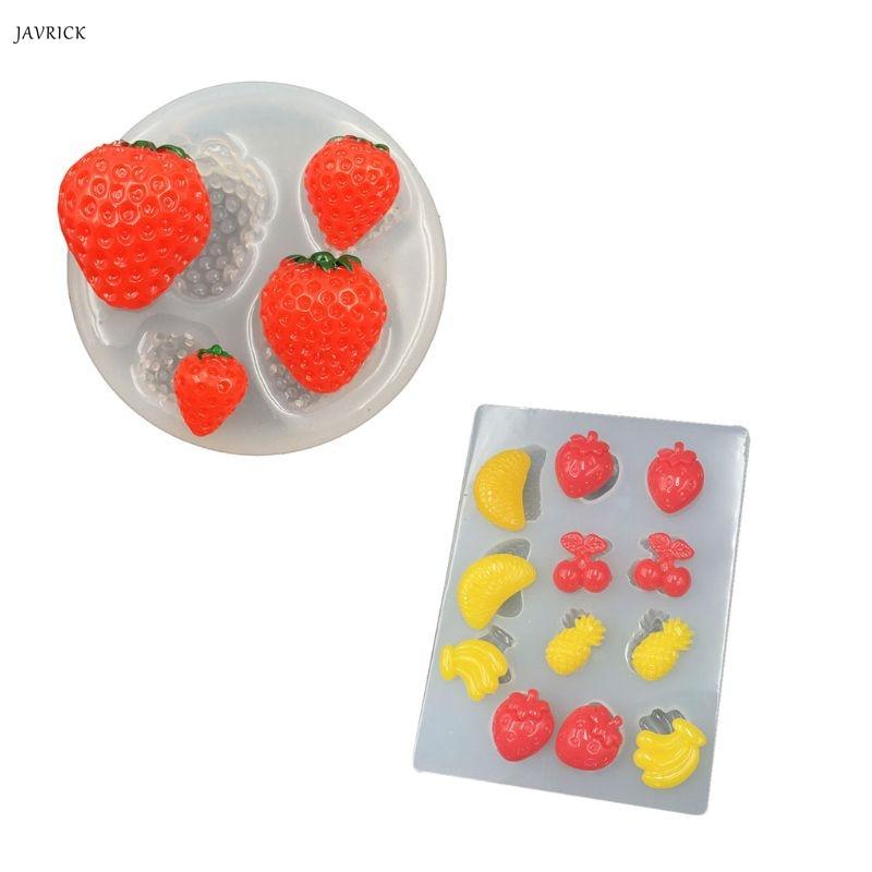 Handmade Cute Strawberry Banana Pineapple Orange Epoxy Resin Mold Fruit Pendant Mold Resin Casting Jewelry Making Tools