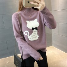 Christmas Sweater Pullovers Jumper Knitted-Tops Turtleneck Long-Sleeve Cashmere Loose