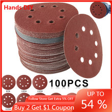 100 pces 125mm lixa forma redonda discos de lixamento gancho loop lixa de papel folha lixa 8 buraco lixadeira polimento almofada