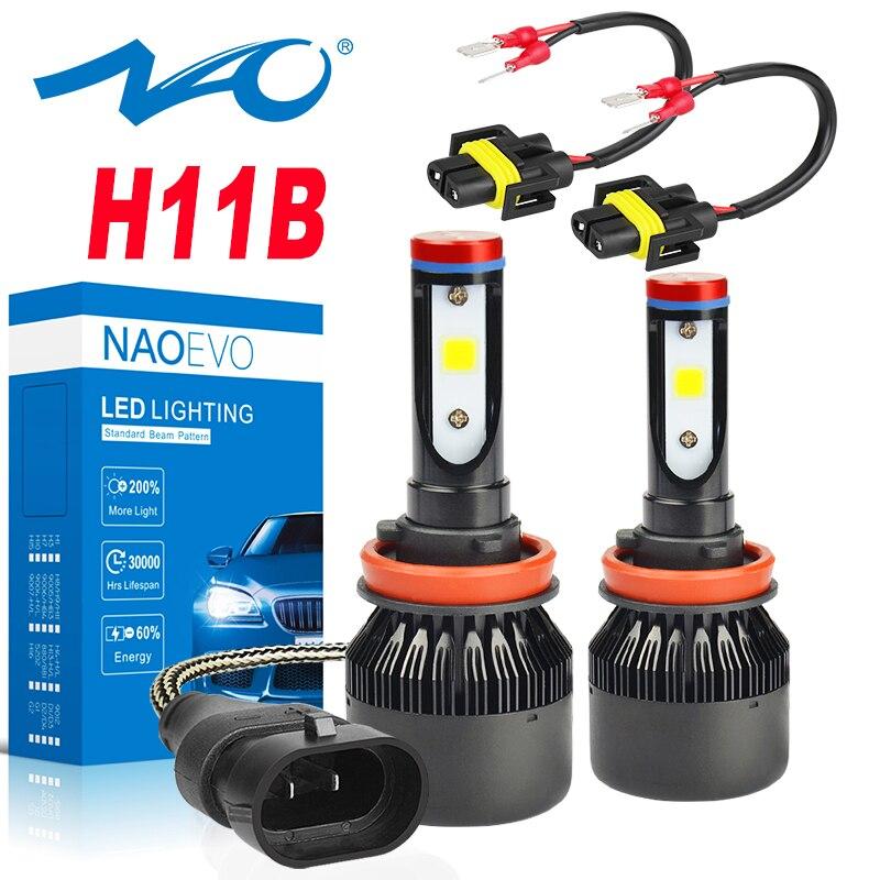 NAOEVO 2x H11B LED Car Headlight 30W Auto Fog Light 6400Lm Super Bright Blub 12V White 6000K High Quality COB Motorcycle Lamp