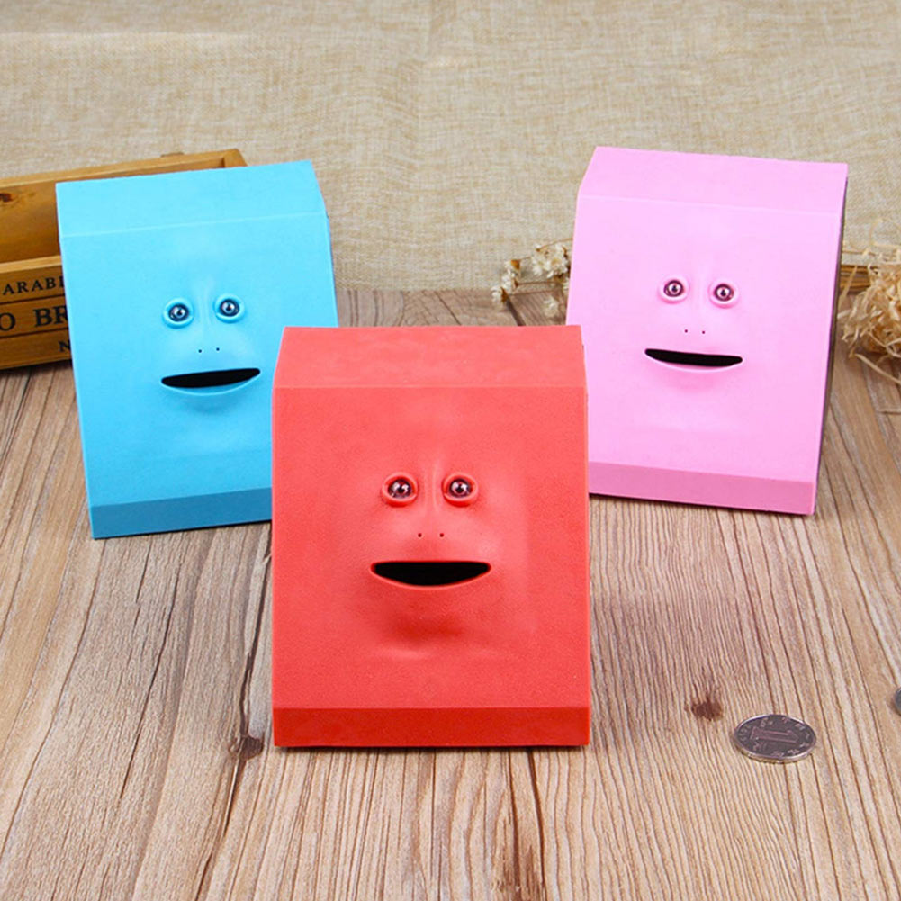 Face Money Eating Coin Bank Battery Powered Saving Box Kids Toys Gifts AC889