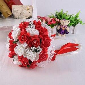 Image 4 - Pink Red White Purple Wedding Bouquet Flowers Bridal Bridesmaid Flower Bouquet Artificial PE Flower Rose Bride Bouquet Flowers
