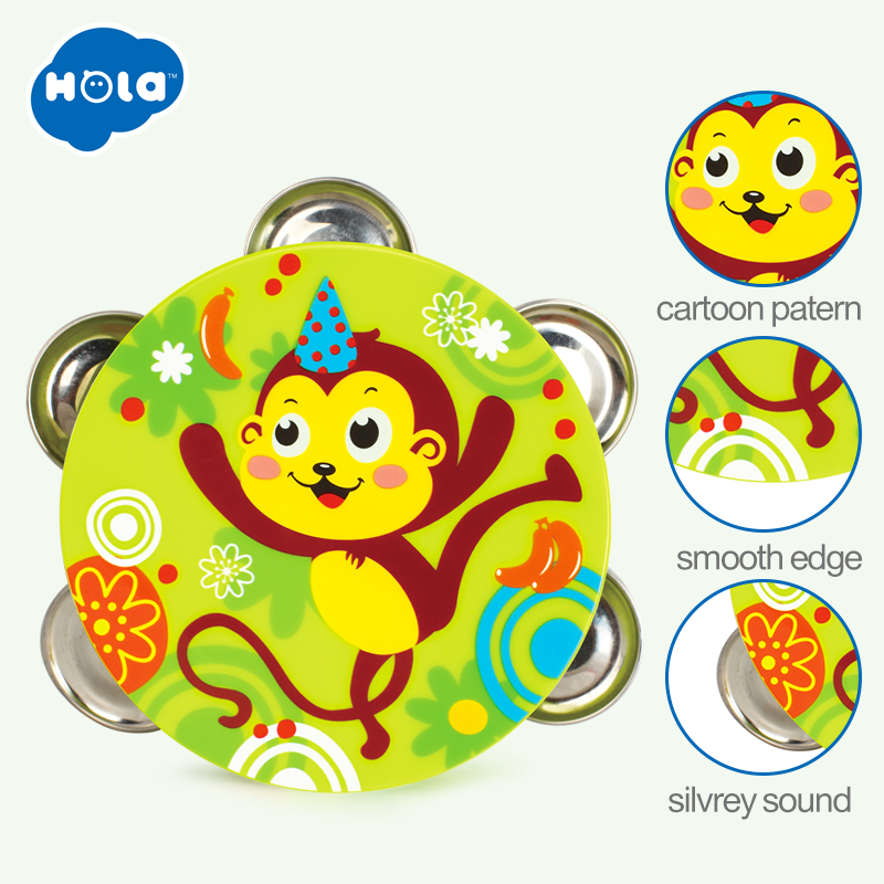 HOLA 3102B Baby Rattles For Newborns Baby Toys 0-12 Months Tambourine Musical Drum Toy For Children Early Learning Educational