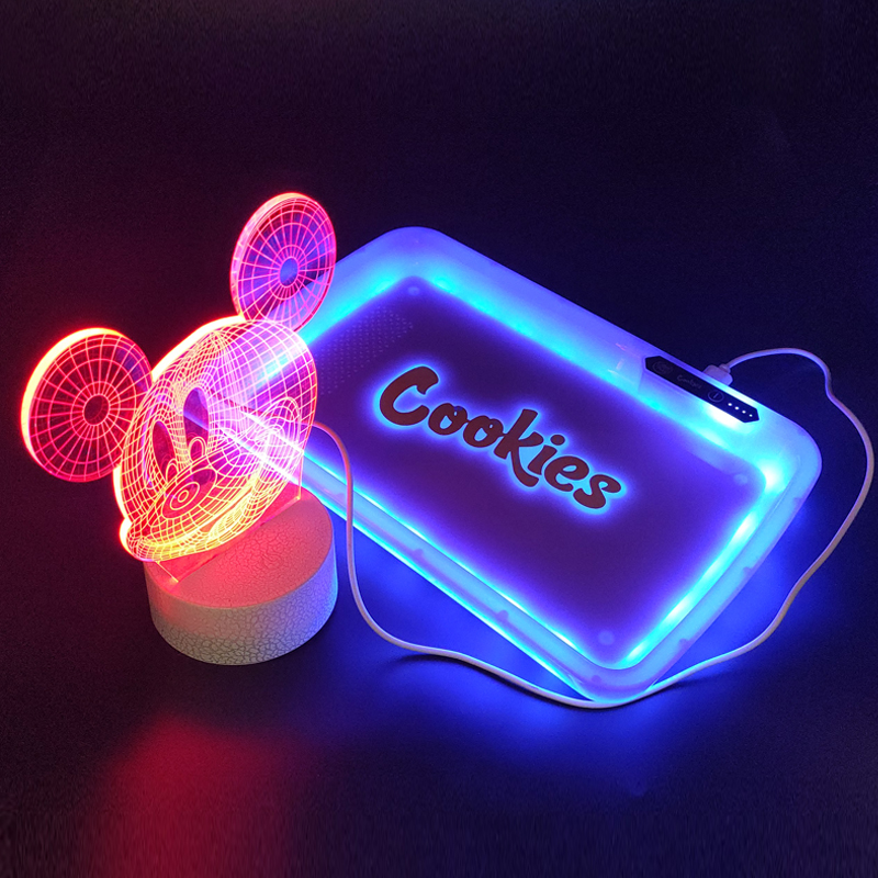 1Pc led Rolling Tray Weed Tray tobacco Voice Control Tray with upgraded Right Button bong weed gadgets for men technology 1