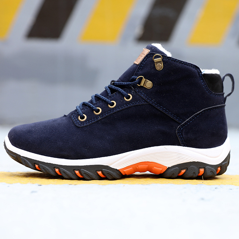Men Snow Boots Winter Cotton Shoes with fur Lace-up Sneakers Warm Fleeces Ankle Boots High Flat Casual Shoes Solid Anti-skid 2