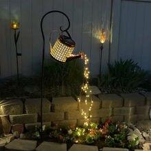 Garden Lights Outdoor Solar Lawn Solar Powered Waterproof String Fairy Decoration Kettle Art Watering Shower String Solar Lamp