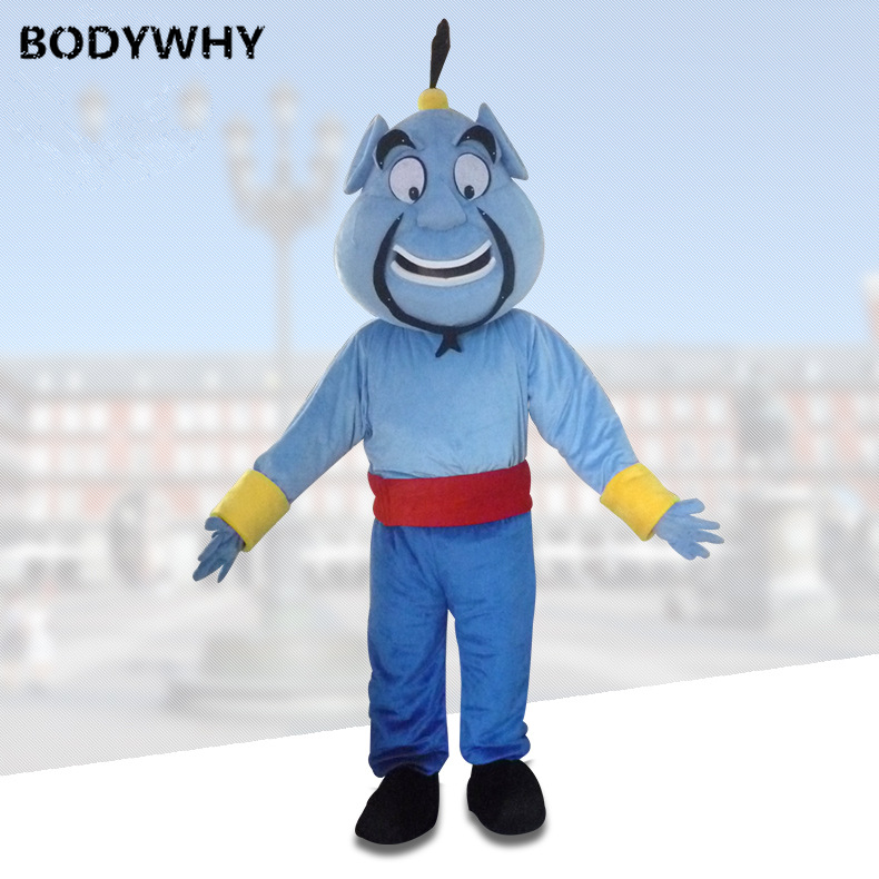 Cosplay Pretty Blue Genie Evil Bogy Spirit Demon Mascot Cosplay Theme Mascotte Carnival Costume Fancy Party Dress