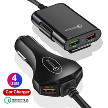 KSTUCNE Front/ Back Seat 4 Port USB Quick Charge 3.0 Car Charger For iPhone Huawei 60W 12A Fast Phone Xiaomi Samsung