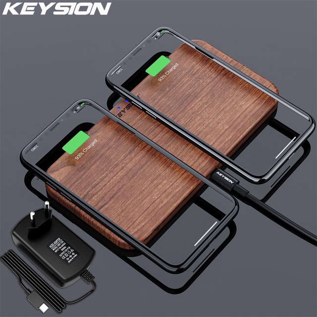 KEYSION cargador inalámbrico Dual, 5 bobinas, almohadilla de carga rápida Qi, Compatible con iPhone 11 Pro, XS, Max, Samsung S20, AirPods, Xiaomi Mi 10