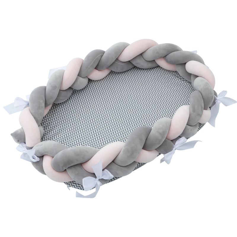 Newborn Crib Bed Portable Nursing Mom Cushion Breast Feeding Bed Weaving Basket Outdoor Foldable Washable 85*50*20cm YYJ009
