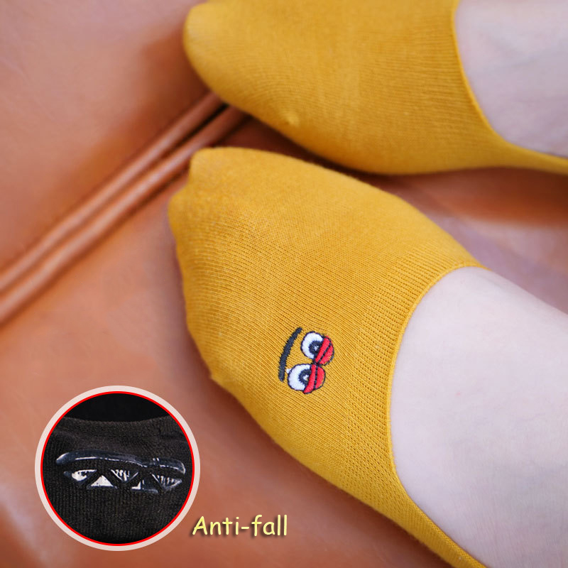 Embroidered Expression Woman Socks Cool Slipper Invisible Socks Women Summer No Show Non-slip Cotton 1 Pair Candy Color