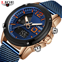 Top Luxury Brand LIGE Military Quartz Mens Watches LED Date Analog Digital Watch Man Casual Sport Clock Relogio Masculino+Box mens watches top brand luxury men military watches led digital analog quartz man sports watch waterproof relogio masculino