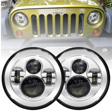 1Pair Running Lights 75W 7inch Car Accessories Angel Eyes H4 LED Headlight For Lada Niva 4X4 Uaz Hunter Hummer H1 H2(China)