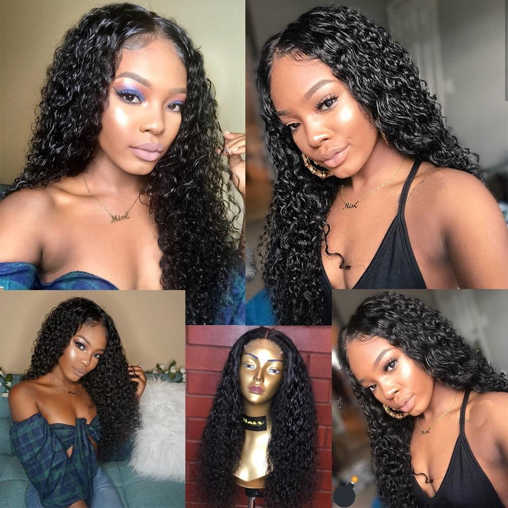 Image 5 - Kręcone ludzkie włosy peruki 13x6 koronkowa peruka na przód Remy peruwiański peruki typu lace front dla czarnych kobiet 180 13x4 ludzki włos koronki przodu perukaPeruki z ludzkich włosów na siatce   -