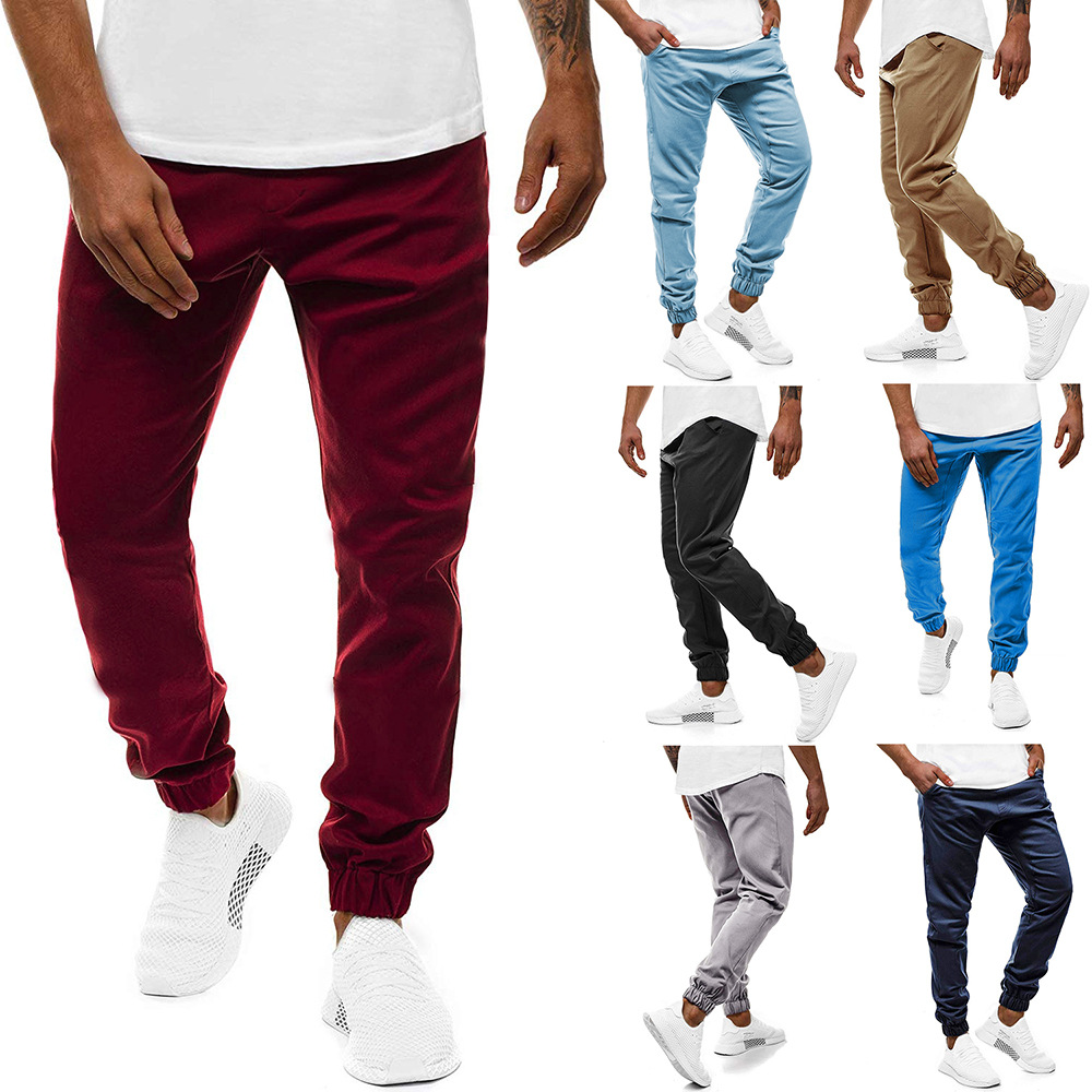 Men's M-6xl Large Size Solid Color With Drawstring Closed Lapel Casual Long Pants 3440