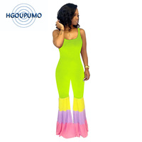 Colorful Stripes Bell Bottom Jumpsuits Women Backless Spaghetti Strap Bodycon Playsuit Casual Sleeveless Bodycon Party Overall