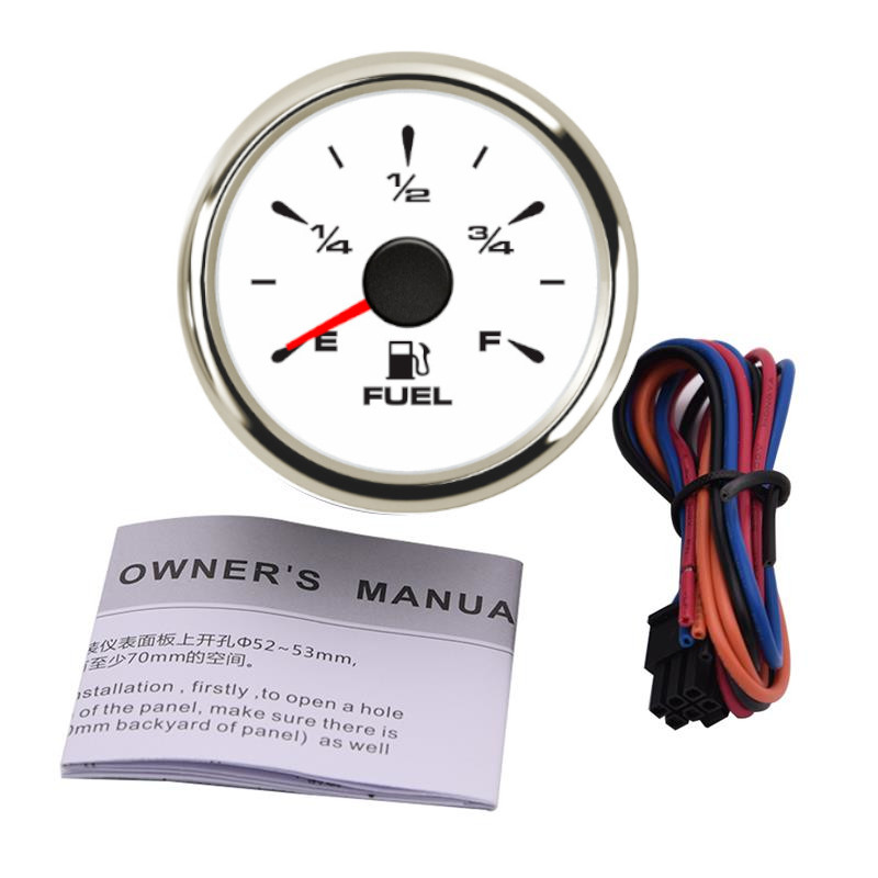 Auto Pointer Water Level Gauges 52mm E-F LCD White Water Level Meter 240-33ohm