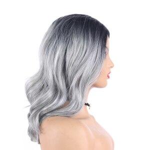 Image 4 - Ombre אפור חום בצבע סינטטי תחרה פאות טבעי גל קצר בוב פאות עבור נשים גבוהה טמפרטורת תחרה פאת שיער חתיכות X TRESS