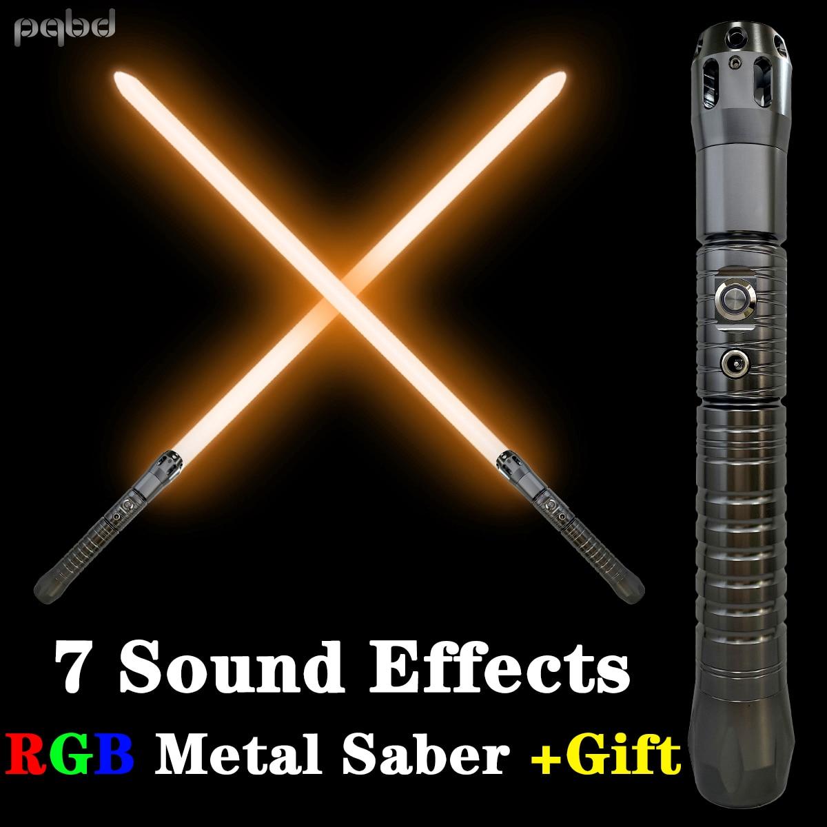 pqbd Lightsaber RGB Force FX FOC Blaster Laser Sword Original Movie Sound Effects Light Saber Automatic NiteCore Extreme LED Toy
