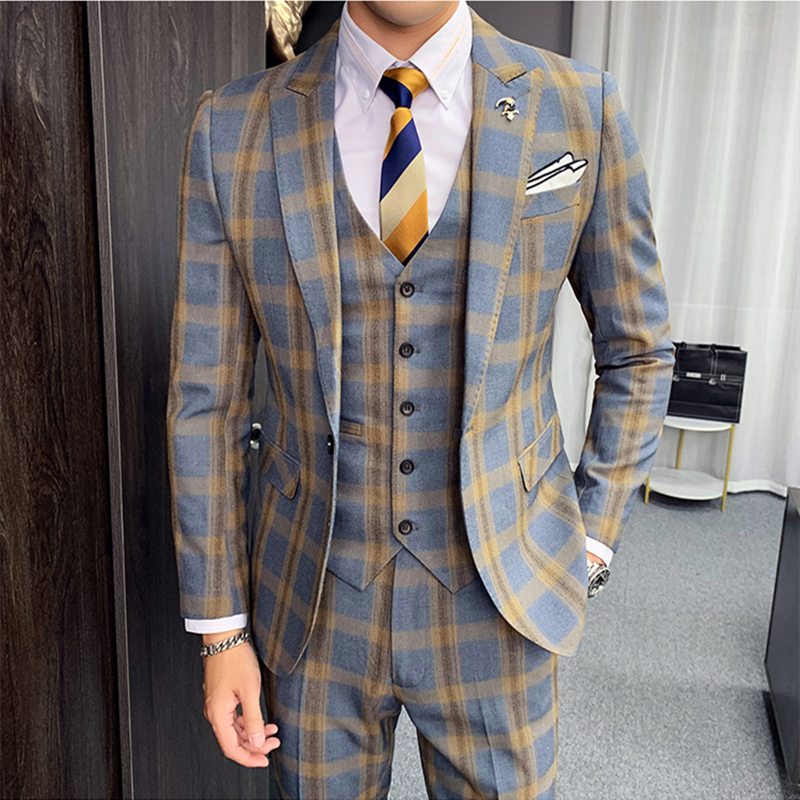 Plyesxale Autumn Khaki Gray Plaid Suits For Men 2019 Classic Mens Wedding Suits Slim Fit Formal Business Jacket+Pants+Vest Q888