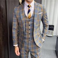 Plyesxale Autumn Khaki Gray Plaid Suits For Men 2019 Classic Mens Wedding Suits Slim Fit Formal Business Jacket+Pants+Vest Q888