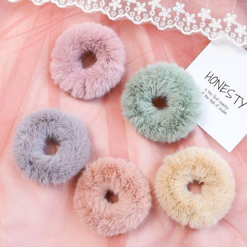 2020 novo inverno de pelúcia scrunchies feminino meninas imitação vison elástico cabelo bandas de borracha acessórios gravata anel de cabelo titular headdress
