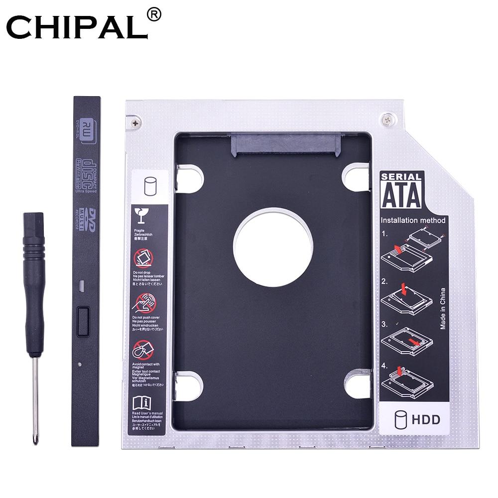 Chipa alumínio universal 2nd hdd caddy 9.5mm sata 3.0 dupla led para 2.5