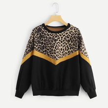 Fashion Womens Long Sleeve Patchwork Sweatshirt Casual O-neck Leopard Print Pullovers Autumn Loose Hoodies