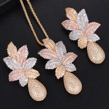 GODKI 65mm Luxus Ananas Wasser Tropfen Frauen Hochzeit Zirkonia Halsreif Halskette Ohrring Dubai Schmuck Set Schmuck Addict