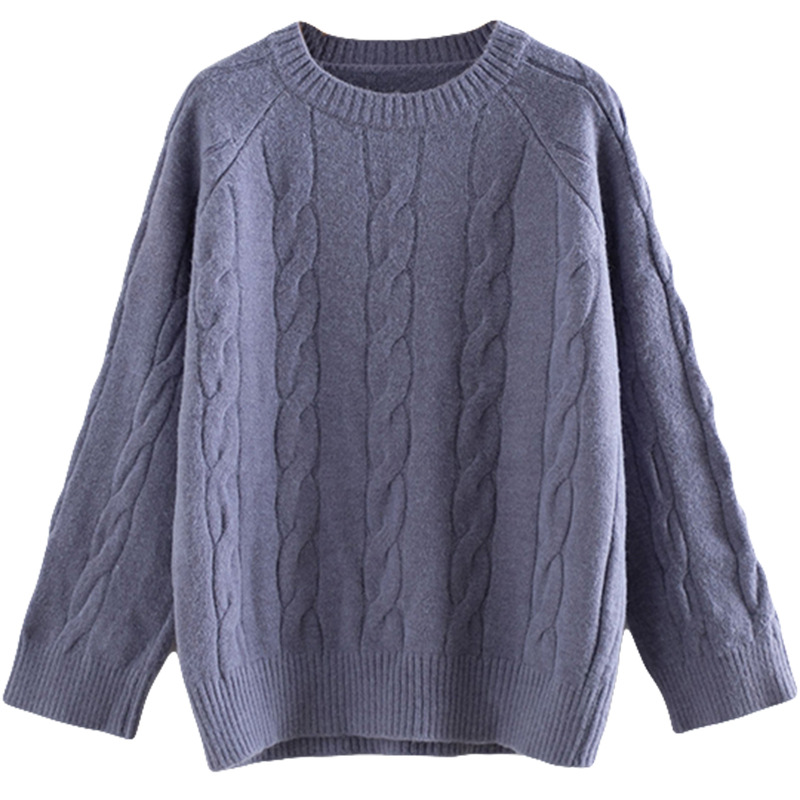 Plus Size Casual Essential Sweaters Women 2019 Autumn Winter Fashion Loose Long Sleeve Twist Knitting Pullovers T55-853#